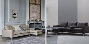 Sleek odense sofa with chaiselong, one in fabric upholstery, one in leather upholstery