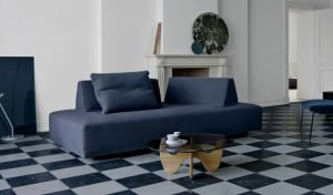 Playground Sofa in dark blue, with portable, stable back-blocks, made with patented material