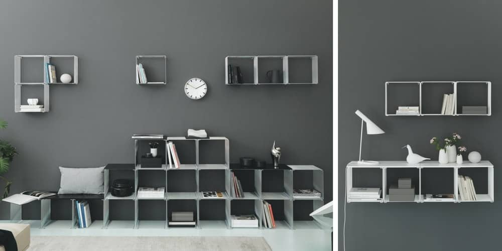 Steel-cool grey panton wire cubes against a darkened grey wall, as storage options for your books, plants, boxes and lamps.