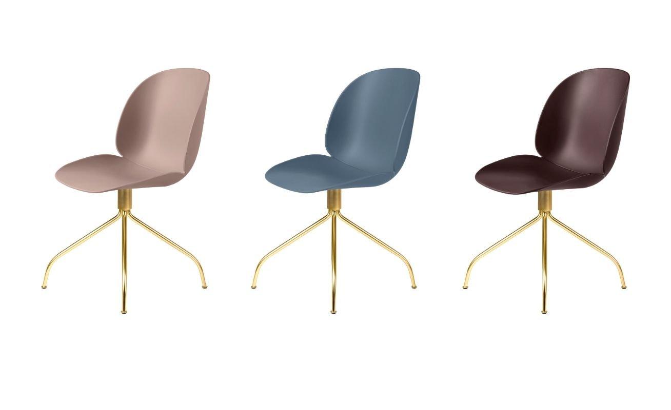 GUBI - Beetle Meeting Chair Brass Swivel Base