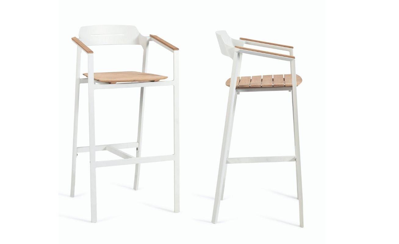 Diphano Icon Outdoor Barstool white PCA Frame and Teak Seat - Danish Design Co Singapore