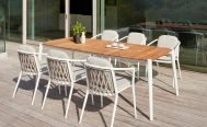Diphano Icon Outdoor Dining Armchair White PCA Frame and teak seat - Danish Design Co Singapore