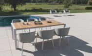Diphano - Random Dining Armchair with White PCA Frame and Savanne (Light Grey) Fabric by the pool