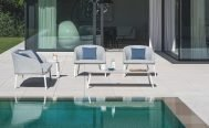 Diphano - Random Lounge Chair with White PCA Frame and Savanne (Light Grey) Fabric by the pool