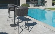 Diphano Ombre - Barstool, Lava PVC frame, Graphite Rope and Chestnut Seat cushion in setting