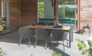 Diphano Ombre Outdoor Dining Chair, Lava PCA frame, Graphite Rope and Chestnut Cushion in setting - Danish Design Co Singapore