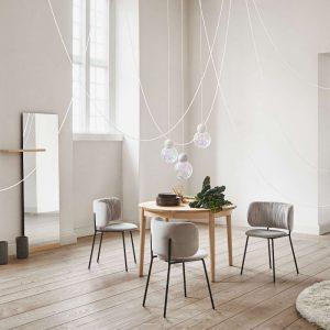 Bolia Pleated dining chair - Beige velvet dining set