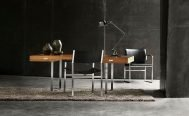 Carl Hansen CH111 - Stainless Stell - Black leather - Photographed with CH110 - Oiled Walnut - Stainless Steel Dining Tabel