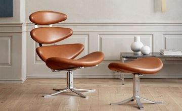 Corona chair in brown leather