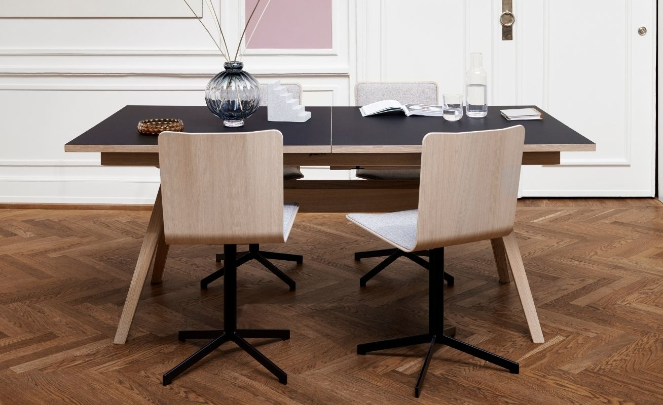 Skovby 803 Dining Chair - Light wood and black stand with table