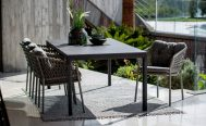 Ocean Outdoor Dining Chair in Taupe with the Grey Optional Cushion Set - Danish Design Co Singapore