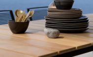 Core Outdoor Dining Table - close up of the teak