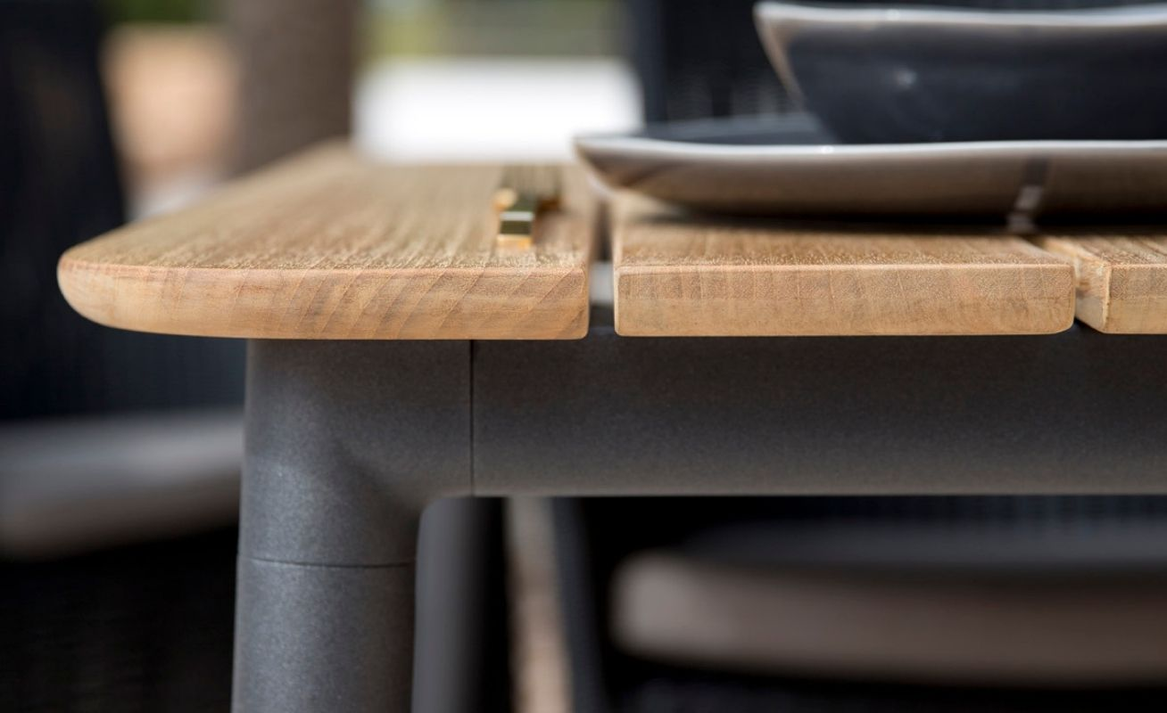 Core Outdoor Dining Table - Close up of Taupe Aluminium Frame