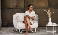 Nest Outdoor Lounge Chair with White Cane-line Weave - Danish Design Co Singapore