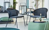 Lean Outdoor Lounge Chair in Black Cane-Line Weave and a Grey Optional Cushion