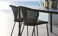 Lean Outdoor Dining Chair in Black Cane-Line Weave