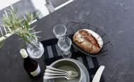 Drop Outdoor Dining Table with a Black Fossil Ceramic Table Top