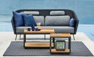 Cane-line Mega 2 Seater Outdoor Sofa in Dark Grey with Light Grey Cushions - Danish Design Co Singapore