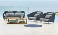 Cane-line Mega Outdoor Lounge Chair in Dark Grey with Light Grey Cushions - Danish Design Co Singapore