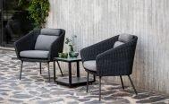 Cane-line Mega Outdoor LoungeChair in Dark Grey with Light Grey Cushions - Danish Design Co Singapore