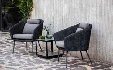 Cane-line Mega Outdoor LoungeChair in Dark Grey with Light Grey Cushions