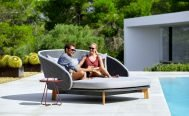 Cane-line Peacock Daybed, dark grey and light grey by the pool