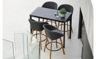 Cane-line Peacock Outdoor Bar Chair in dark grey with a light cushion - Danish Design Co Singapore