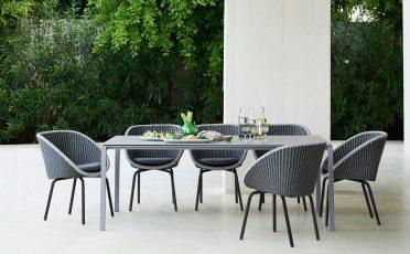 Cane-line Peacock Outdoor Dining Chair Dark grey seat with a light grey rim and black aluminium legs - Danish Design Co Singapore