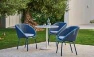 Cane-line Peacock Outdoor Dining Chair blue seat, light grey cushion and blue aluminium legs - Danish Design Co Singapore