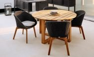 Cane-line Peacock Outdoor Dining Chair dark grey seat with light grey cushion and teak legs - Danish Design Co Singapore