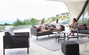 Encore 3 seater outdoor sofa in black aluminium