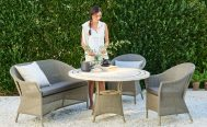 Lansing 3 seater outdoor sofa in taupe cane and taupe cushions in a collection - Danish Design Co Singapore