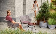 Bordeaux and Dusty Rose Vibe outdoor Lounge Chair with a Dark Bordeaux cushion - Danish Design Co Singapore