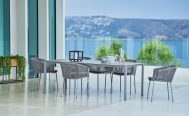 Dark Grey VibeMoments Outdoor Dining Chair With Light Grey Cushions Close up - Danish Design Co Singapore